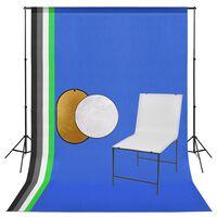 vidaXL Photo Studio Kit with Shooting Table. Backdrop and Reflector