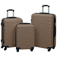 vidaXL Hardcase Trolley Set 3 pcs Brown ABS