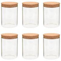 vidaXL Storage Glass Jars with Cork Lid 6 pcs 650 ml