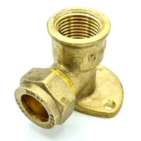 15mm x G1/2 Female Wallmounted Elbow Compression Fitting Connector