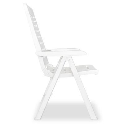 vidaXL Reclining Garden Chairs 2 pcs Plastic White