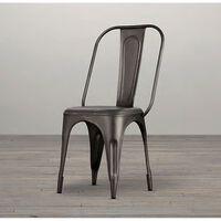 Metal Chair Grey  Upcycled Industrial Vintage Mintis Pair 85x46x45cm