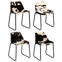 vidaXL Dining Chair 4 pcs Genuine Goat Leather