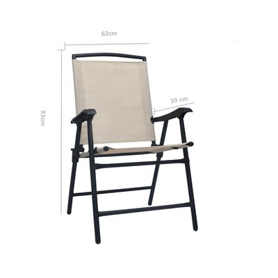vidaXL Folding Garden Chairs 2 pcs Texilene Cream