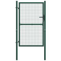 vidaXL Fence Gate Steel 100x175 cm Green