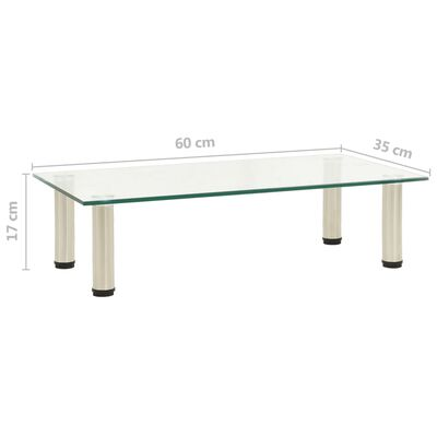 vidaXL TV Stand Transparent 60x35x17 cm Tempered Glass