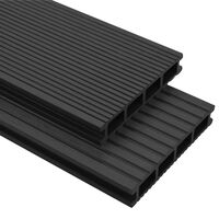 vidaXL WPC Decking Boards with Accessories 26 m² 2.2 m Anthracite