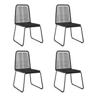 vidaXL Outdoor Chairs 4 pcs Poly Rattan Black