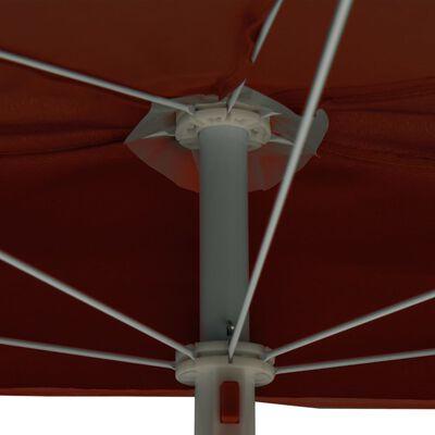 vidaXL Garden Half Parasol with Pole 180x90 cm Terracotta