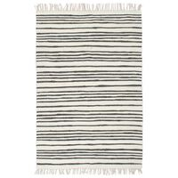 vidaXL Hand-woven Chindi Rug Cotton 80x160 cm Anthracite and White