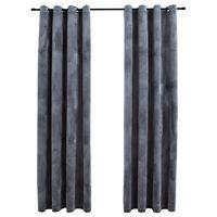 vidaXL Blackout Curtains with Rings 2 pcs Velvet Anthracite 140x245 cm