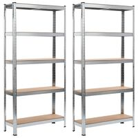 vidaXL Storage Shelves 2 pcs Silver 90x30x180 cm Steel and MDF