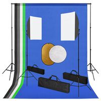 vidaXL Photo Studio Kit with Lamps. Backdrop and Reflector