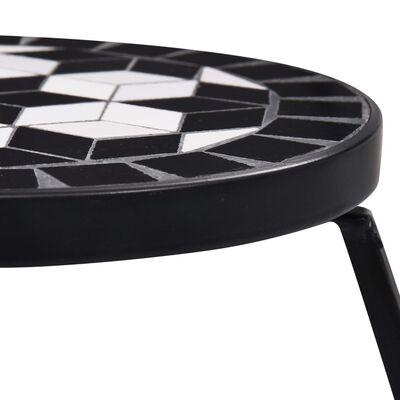 vidaXL Mosaic Tables 3 pcs Black and White Ceramic