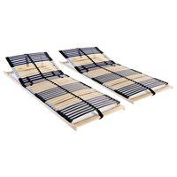 vidaXL Slatted Bed Bases 2 pcs with 42 Slats 7 Zones 80x200 cm