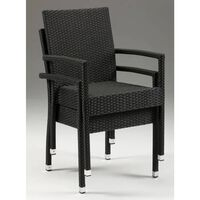 Asta Stackable Wicker Chair With Arms - Indoor/outdoor