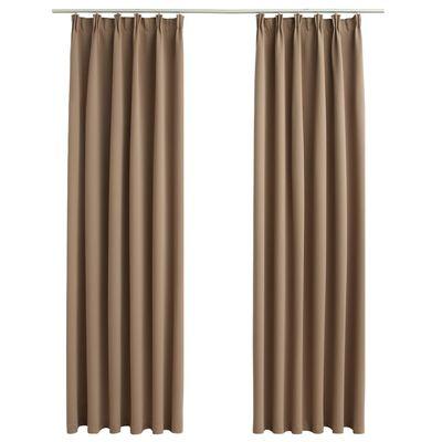 vidaXL Blackout Curtains with Hooks 2 pcs Taupe 140x175 cm