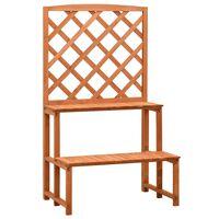 vidaXL Trellis Planter with Shelves Orange 70x42x120 cm Solid Firwood