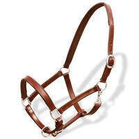 Real Leather Headcollar Stable Halter Adjustable Brown Full