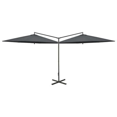 vidaXL Double Parasol with Steel Pole Anthracite 600 cm