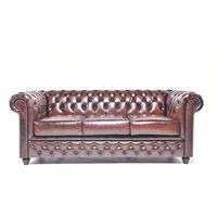 Chesterfield Sofa Original Leather  3-seater   Wash Off Brown