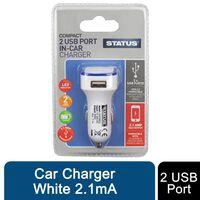 Status 2 Port Usb Car Charger White 2.1ma