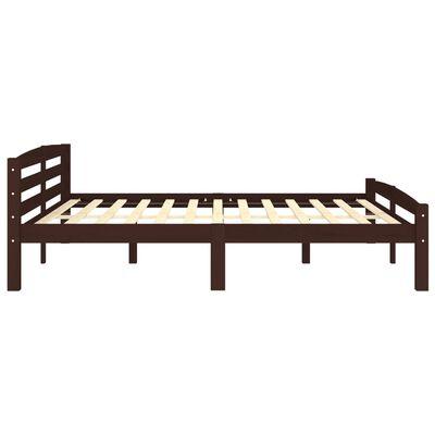 vidaXL Bed Frame Dark Brown Solid Pinewood 180x200 cm
