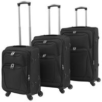 vidaXL 3 Piece Soft Case Trolley Set Black