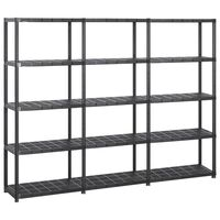 vidaXL Storage Shelf 5-Tier Black 213x38x170 cm Plastic