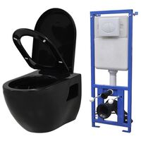 vidaXL Wall-Hung Toilet with Concealed Cistern Ceramic Black