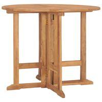 vidaXL Folding Garden Dining Table Ø90x75 cm Solid Teak Wood