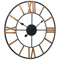 vidaXL Wall Clock Gold and Black 80 cm Metal