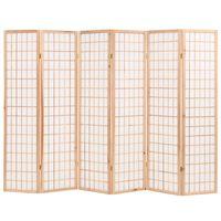 vidaXL Folding 6-Panel Room Divider Japanese Style 240x170 cm Natural
