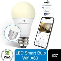 Wiz Led A60 Smart Bulb Wifi Es (e27) Warm White & Dimmable, 2 Pack