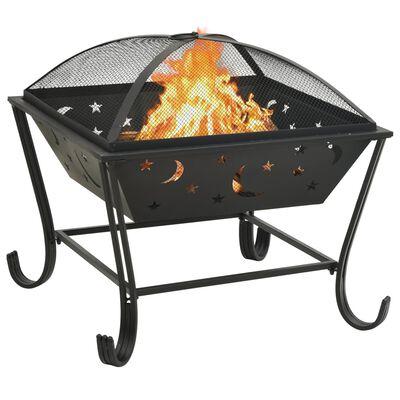 vidaXL Fire Pit with Poker 62 cm XXL Steel