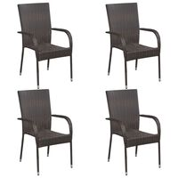 vidaXL Stackable Outdoor Chairs 4 pcs Poly Rattan Brown