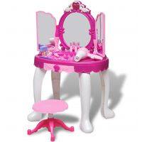 3-Mirror Kids' Playroom Standing Toy Vanity Table with Light/Sound