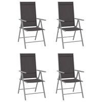 vidaXL Folding Garden Chairs 4 pcs Textilene Black