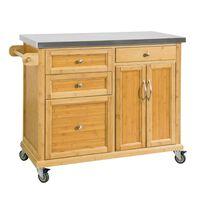 SoBuy Stainless Worktop Kitchen Island Storage Cupboard,FKW70-N