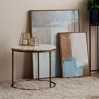 Round Side Table Modern Design Faux Marble Brass Marmo Versanora -  VN