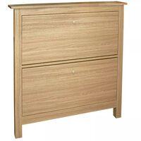 8 Pair Shoe Storage Cabinet - Oak