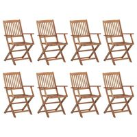 vidaXL Folding Outdoor Chairs 8 pcs Solid Acacia Wood