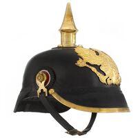 vidaXL German Prussian Helmet Antique Replica LARP Black Steel