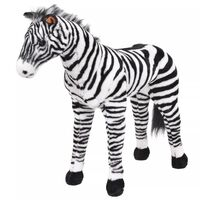 vidaXL Standing Plush Toy Zebra Black and White XXL