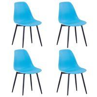 vidaXL Dining Chairs 4 pcs Blue PP