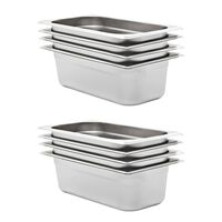 vidaXL Gastronorm Containers 8 pcs GN 1/3 100 mm Stainless Steel