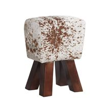 Solid Wooden Legs Stool covered in Genuine Cowhide Leather 45x25x33cm