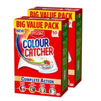 Dylon Colour Catcher Complete Action Laundry Sheets, 50 Sheets, 2pk
