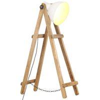 vidaXL Floor Lamp White E27 Solid Mango Wood