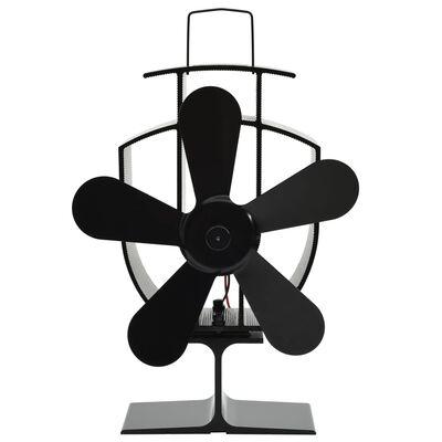 vidaXL Heat Powered Stove Fan 5 Blades Black